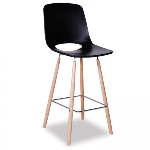 Black Wasowsky Bar Stool | Beechwood Legs