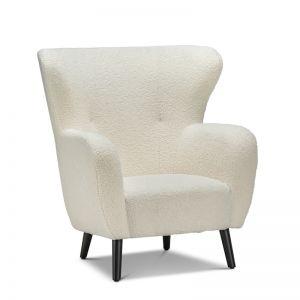 Blanc Faux Sheep Fur Wingback Armchair