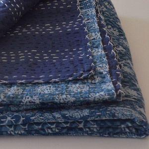Blue Kantha Patchwork Bedspread