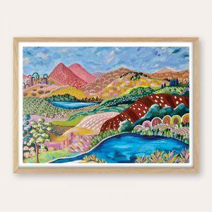 """Blue Lake"" - Abstract Landscape - UNFRAMED Fine Art Print, frame for mock up purposes only"
