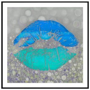 Blue Lips   P6005-Blue   Framed Print   Colour Clash Studio