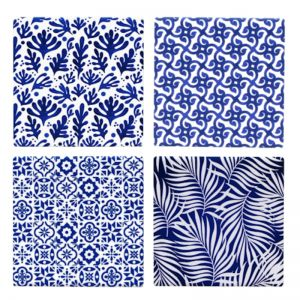 Blue & White Abstract Coasters | Set of 4 | by Hampton Lane