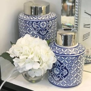 Blue & White Motif Round Ginger Jar   by Hampton Lane