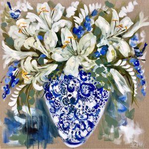 Bluethumb Original   Antique Vase and White Blooms by Amanda Brooks