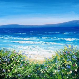 Bluethumb Original | Garden By The Sea - Beach Art (Framed) by Angela Hawkey