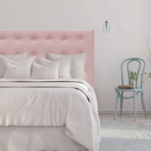 Blush Pink Velvet Buttoned Upholstered Bedhead | All Sizes | Custom Made by Martini Furniture