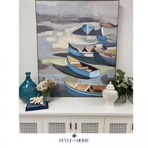 'Boatside' Canvas in Antique Silver Frame