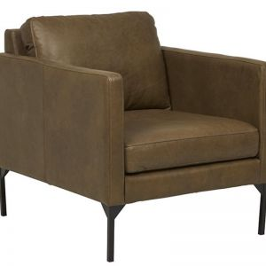 Bogart Square 1 Seater Sofa | Tan Leather | Pre Order