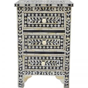 Bone Inlay 3 Drawer Bedside Chest in Floral Black