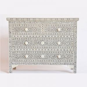 Bone Inlay 4 Drawer Chest in Grey