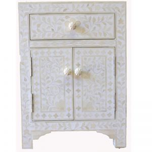 Bone Inlay Bedside Cabinet in White