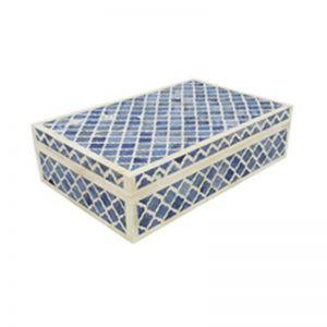 Bone Inlay Box in Quatrefoil/Blue