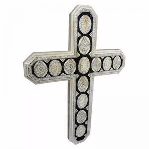 Bone Inlay Carved Cross Design #2