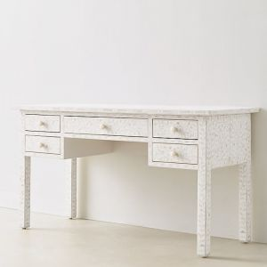 Bone Inlay Desk in White