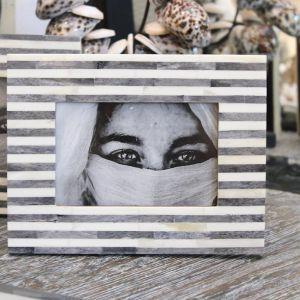 Bone Inlay Photo Frame | Grey Stripe | by Raw Decor