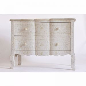 Bone Inlay Provincial 2 Drawer Chest in White