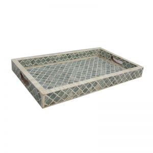 Bone Inlay Rectangular Tray in Quatrefoil/Grey