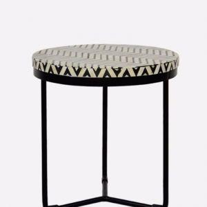 Bone Inlay Round Side Table with Black Metal Legs in Chevron