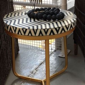 Bone Inlay Round Side Table with Brass Legs