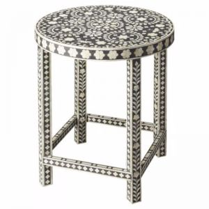 Bone Inlay Round Side Table with Legs in Floral Black