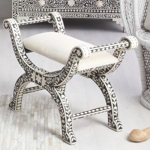 Bone Inlay Stool in Black