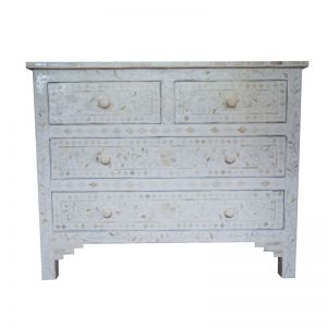 Bone Inlay White Floral 4 Drawer Chest