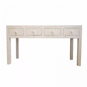 Bone Inlay White Geometric 4 Drawer Console