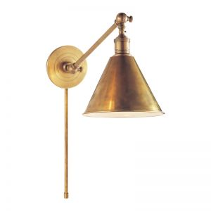 Boston Functional Single Arm Library Light  | Antique Brass | by The Montauk Lighting Co.