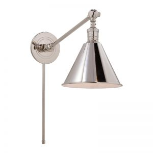 Boston Functional Single Arm Library Light | Polished Nickel | by The Montauk Lighting Co.