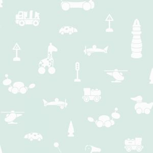 Brio Icons Nursery Wallpaper for Kids - Mint Green