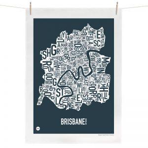 Brisbane Map   Tea Towel by Burbia