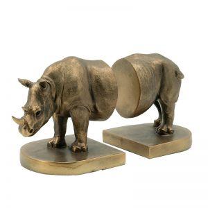 Bronze Rhino Bookends