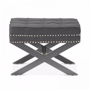 Brooke Ottoman Stools | Charcoal | by Black Mango
