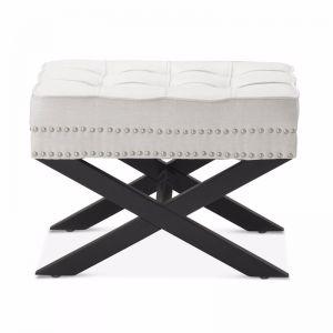 Brooke Ottoman Stools | Linen White | by Black Mango