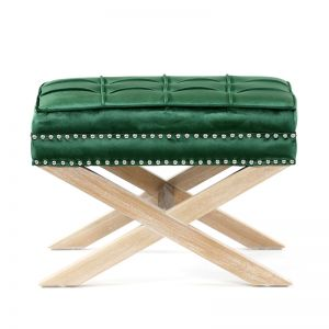 Brooke Ottoman Stools Oak Legs | Emerald| by Black Mango