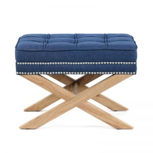 Brooke Ottoman Stools Oak Legs | Navy| by Black Mango