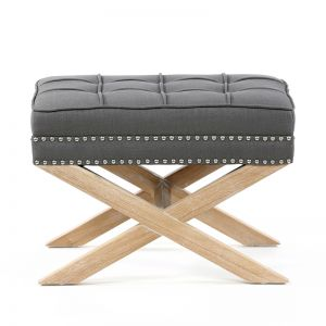 Brooke Ottoman Stools Oak Legs | Wolf Grey | by Black Mango