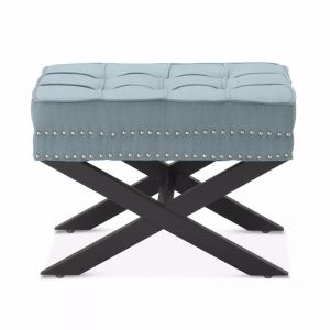 Brooke Ottoman Stools | Teal | by Black Mango