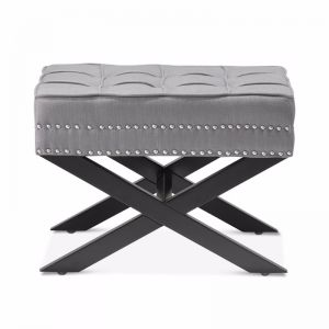Brooke Ottoman Stools | Wolf Grey | by Black Mango