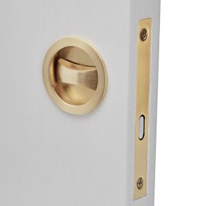 Brushed Brass Cavity Sliding Privacy Door Lock | Round I Mucheln