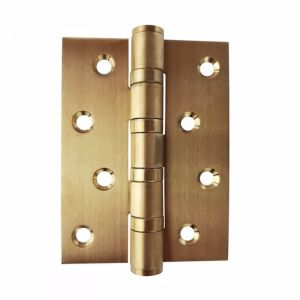 Brushed Brass Door Hinge | 100 x 75mm | 2 Hinges | Fixed Pin
