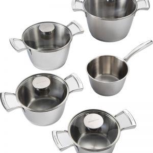 Bugatti 9-Piece Cookware Set w/ Glass Lids - Stainless Steel