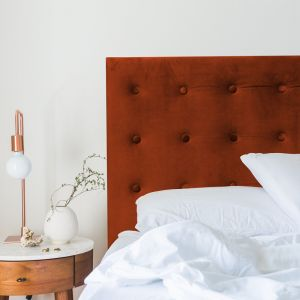 Burnt Orange Velvet Buttoned Upholstered Bedhead | All Sizes | Custom Made by Martini Furniture