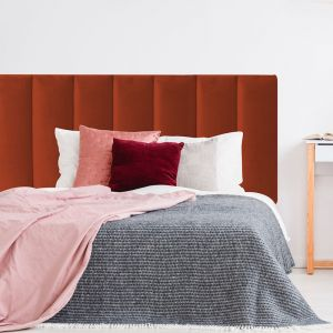 Burnt Orange Velvet Panelled Upholstered Bedhead | All Sizes | Custom Made by Martini Furniture