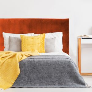 Burnt Orange Velvet Smooth Upholstered Bedhead | All Sizes | Custom Made by Martini Furniture