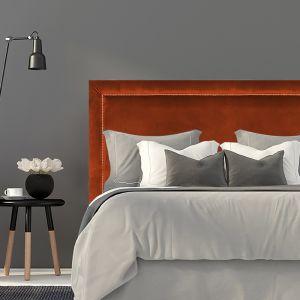 Burnt Orange Velvet Studded Upholstered Bedhead | All Sizes | Custom Made by Martini Furniture