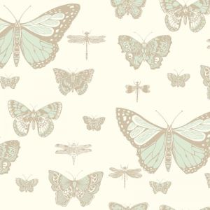 Butterflies & Dragonflies Wallpaper - Green & Cream