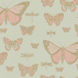 Butterflies & Dragonflies Wallpaper - Metallic Gold & Pink