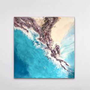 Byron Bay Magic | Original Abstract Seascape | Artwork with Garnet and Mussels by Antuanelle