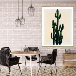 Cactus On A Rectangle | P4007 Nude | Framed Print | Colour Clash Studio